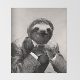 Gentleman Sloth 3# Throw Blanket
