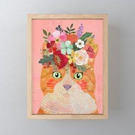 Ginger cat Framed Mini Art Print
