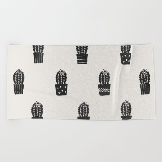 Stamped Potted Cacti Beach Towel