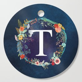 Personalized Monogram Initial Letter T Floral Wreath Artwork Cutting Board