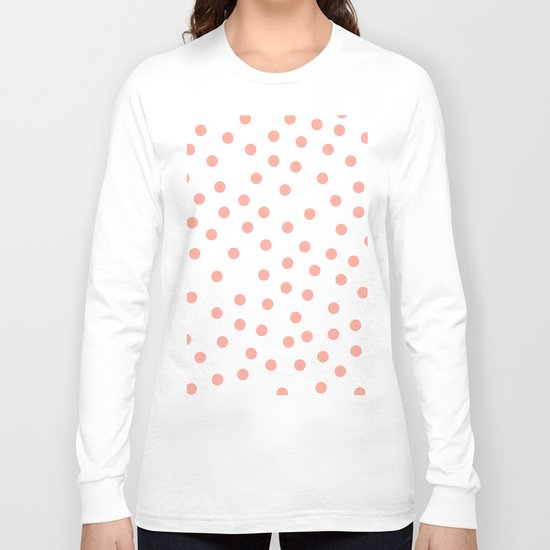 Simply Dots in Salmon Pink on White Long Sleeve T-shirt