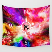 compass Wall Tapestries featuring Space compass by haroulita