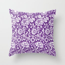 "William Morris Floral Pattern | ""Pink and Rose"" in Purple and White Throw Pillow"