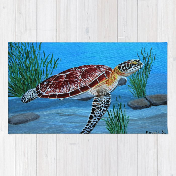 Sea Turtle Rug By Maggs326