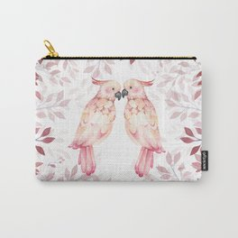 Watercolor burgundy pink tropical cockatoo bird floral Carry-All Pouch