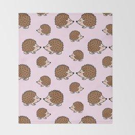 Cute little brown hedgehogs in pink love Throw Blanket