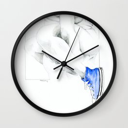 NUDEGRAFIA - 56  the girl with blue tennis shoes Wall Clock