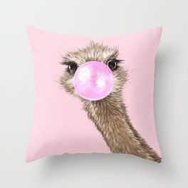 Sneaky Ostrich with Bubble Gum in Pink Throw Pillow
