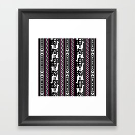Llamas_Fuchsia stripes Framed Art Print