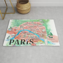 Paris France City Of Love Illustrated Travel Poster Favorite Map Tourist Highlights Rug