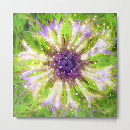 Purple Green Abstract Flower Metal Print