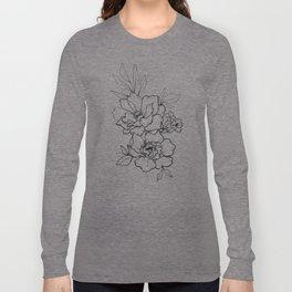 Peony Blossoms Vertical - Black Long Sleeve T-shirt