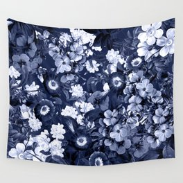 Bohemian Floral Nights in Navy Wall Tapestry