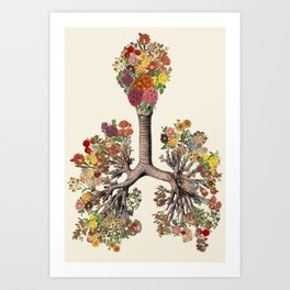 just breathe anatomical lungs collage art by bedelgeuse Art Print