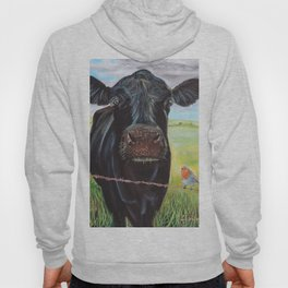 Cow and a robin painting Hoody