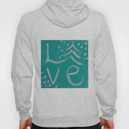 Teal,White and Silver Christms Tree Love Hoody