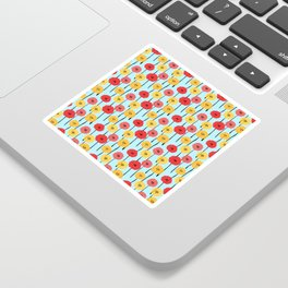 Bright Sunny Mod Poppy Flower Pattern Sticker
