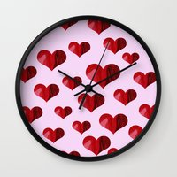 hearts Wall Clocks featuring Hearts by Marjolein