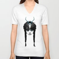 ass V-neck T-shirts featuring Wakeful Warrior - In Blue by Ruben Ireland