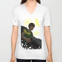 gundam V-neck T-shirts featuring Who is My Enemy? - Gundam Wing Print by PinStripes Studios