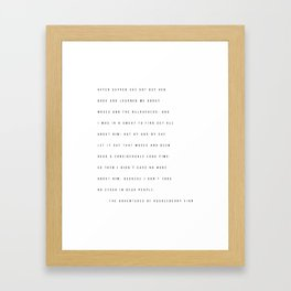 The Adventures of Huckleberry Finn Excerpt Framed Art Print