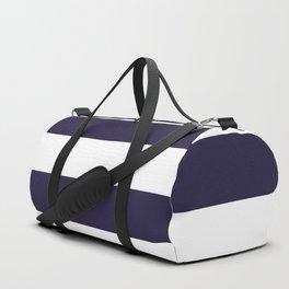 Dark eclipse Blue and White Wide Horizontal Cabana Tent Stripe Duffle Bag