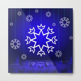 Xmas Blue with snowflake and tipi Metal Print