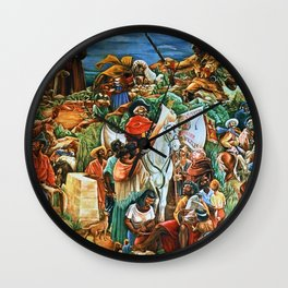 African American Masterpiece Golden State Mural, Exploration and Colonization by Charles Alston Wall Clock