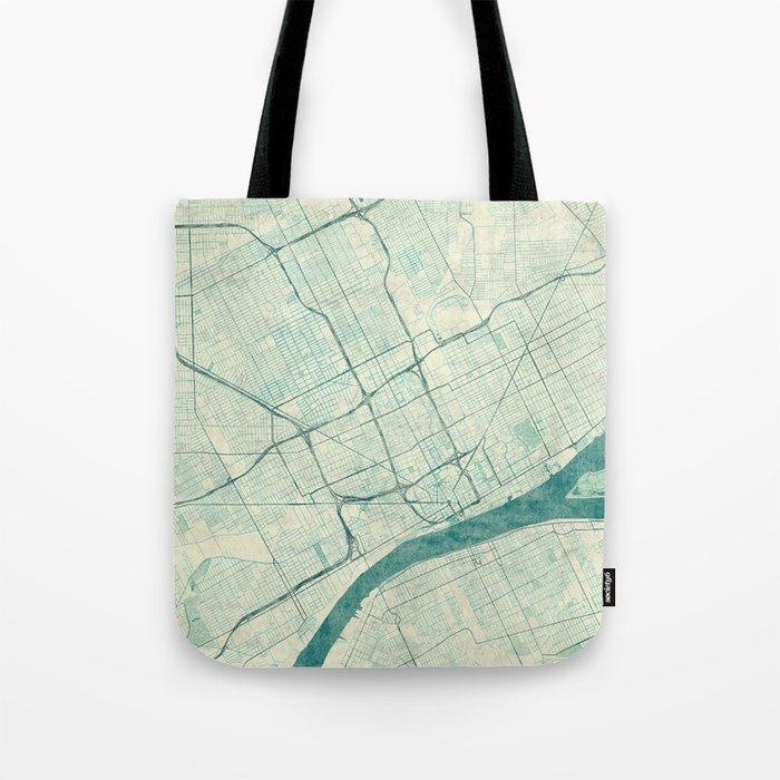 Detroit Map Blue Vintage Tote Bag
