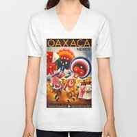 mexico V-neck T-shirts featuring MEXICO by Kathead Tarot/David Rivera