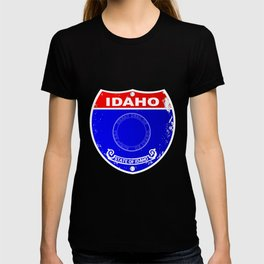 Idaho Flag Icons As A  Interstate Sign T-shirt
