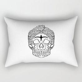 Frida Kahlo Sugar Skull black and white Rectangular Pillow