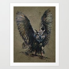 Owl background Art Print