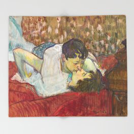 """Henri de Toulouse-Lautrec """"In Bed. The Kiss"""" Throw Blanket"""