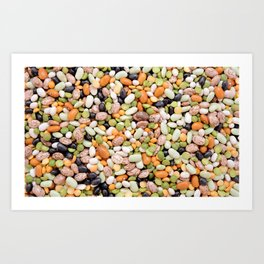 Colourful mixed beans and peas Art Print