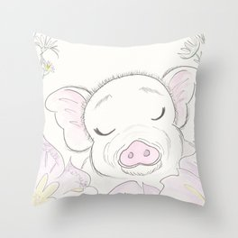 Sweet Pig Amongst the Flowers Throw Pillow
