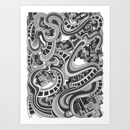 Wandering 45: grayscale Art Print