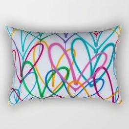 Multicoloured Love Hearts Graffiti Repeat Pattern Rectangular Pillow