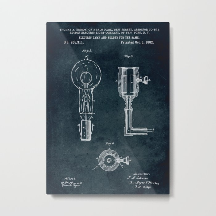 1882 - Electric lamp and holder for the same (Thomas Edison patent) Metal Print