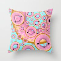 donuts Throw Pillows featuring Donuts by Ilya Konyukhov