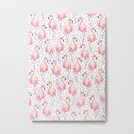 Flamingos, Dots, Pink, Tropical, Minimal, Pattern, Modern art Metal Print