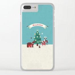 Christmas Animals and Christmas Tree Clear iPhone Case