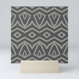 Tribal in Grey and Beige Mini Art Print