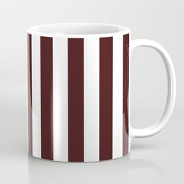 Narrow Vertical Stripes - White and Dark Sienna Brown Coffee Mug
