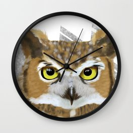 Great Horned Owl & Poly Thoughts Wall Clock