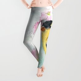 Goldfinch and Dogwood Flowers Leggings