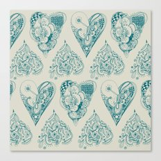 Blue and beige tangled heart pattern Canvas Print