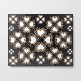 Clover Hearts Black, White, and Rose-Gold Mandala Textile Metal Print