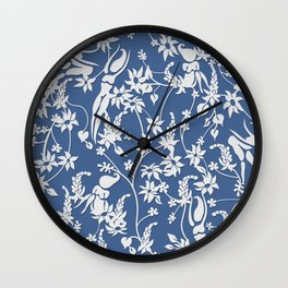 Papercut Garden, blue and white Wall Clock
