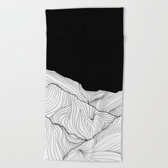 Lines in the mountains - b&w Beach Towel